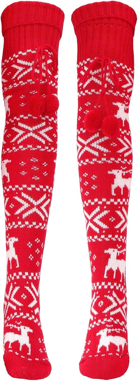 Happyyami Knit Knee High Cable Sock High Boot Socks Long Socks Women Leg Warmers Christmas Deer Pattern 1 Pair