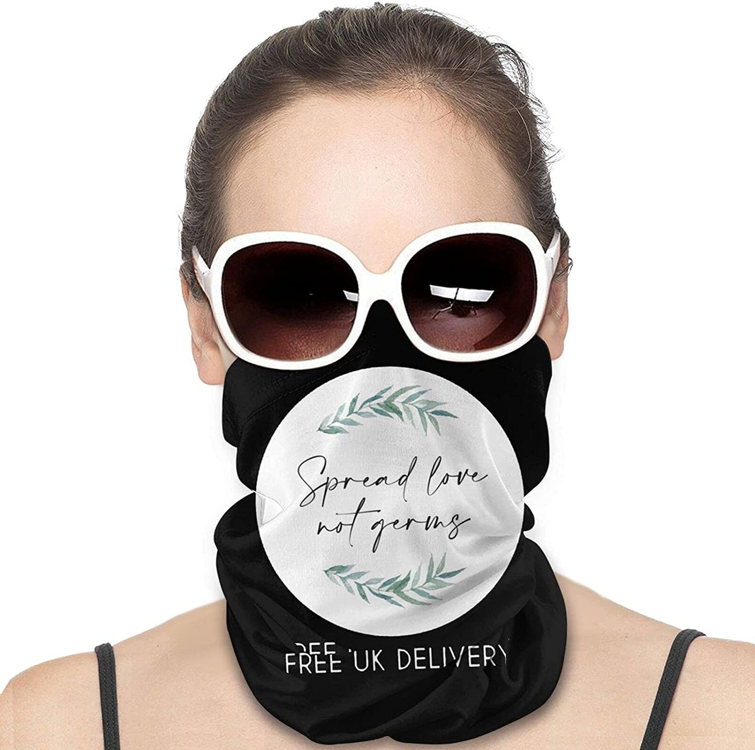 Spread Love not Germs Round Neck Gaiter Bandnas Face Cover Uv Protection Prevent bask in Ice Scarf Headbands Perfect for Motorcycle Cycling Running Festival Raves Outdoors