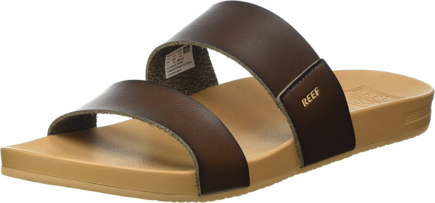 Reef Women's Sandals, Cushion Vista, Vegan Leather Slides with Cushion Footbed