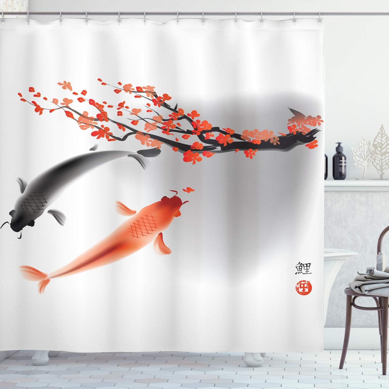 Ambesonne Japanese Shower Curtain Koi Carp Fish Couple Swimming With Cherry Blossom Sakura Branch Culture Design Cloth Fabric Bathroom Decor Set With Hooks 70 Long Orange Grey Home Kitchen Amazon Com