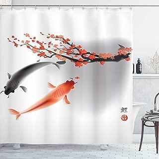 Ambesonne Japanese Shower Curtain, Koi Carp Fish Couple Swimming with Cherry Blossom Sakura Branch Culture Design, Cloth Fabric Bathroom Decor Set with Hooks, 75