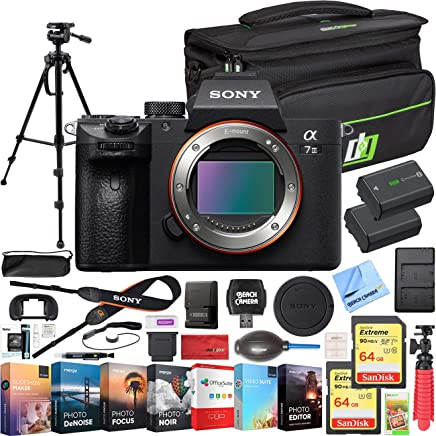 $1998 Get Sony a7 III Full Frame Mirrorless Interchangeable Lens 4K HDR Camera ILCE-7M3 Body Bundle with Deco Gear Travel Bag, 2X 64GB Memory Cards, Editing Suite and Accessories (18 Items)
