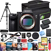 Sony a7 III Full Frame Mirrorless Interchangeable Lens 4K HDR Camera ILCE-7M3 Body Bundle with Deco Gear Travel Bag, 2X 64GB Memory Cards, Editing Suite and Accessories (18 Items)