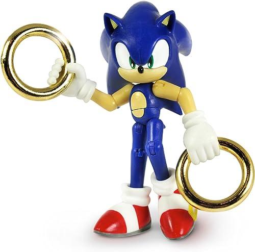 precios mas baratos Sonic The Hedgehog - Figura de de de acción con anillos dorados y sónicos de 7,62 cm (azul)  entrega rápida
