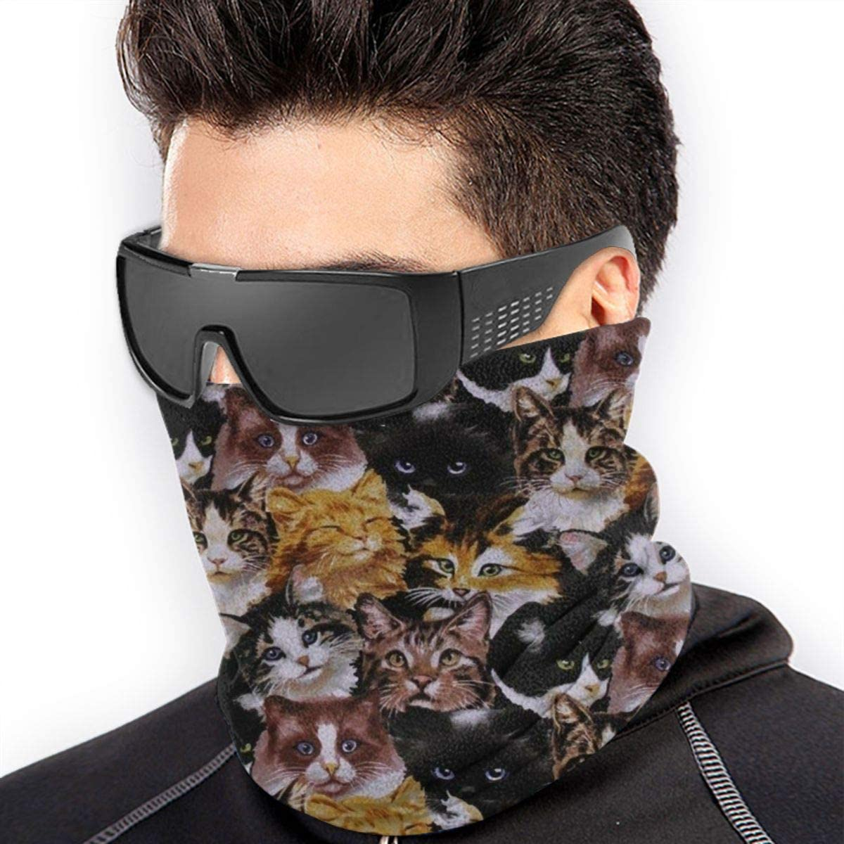 CLERO& Scarf Fleece Neck Warmer Cat Faces Vintage Windproof Outdoor Headwear Comfortable Neck Gaiter Warmer Face Mask for Cold Weather Winter Outdoor Sports