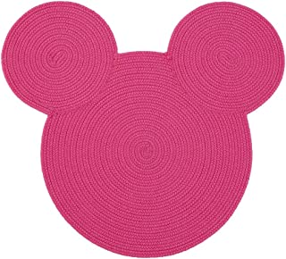 Ethan Allen | Disney Braided Mickey Mouse Rug, 3' x 3', Minnie Pink