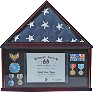 Elegant Memorial/Funeral Flag Display Case Storage Military Medal Shadow Box, for Memorial Flag, FC07 (with NO Mat and Medallion)