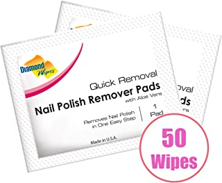 Nail Polish Remover Pads, Individually sealed packet, pre-soaked extra thick pad for travel - Pack of 50