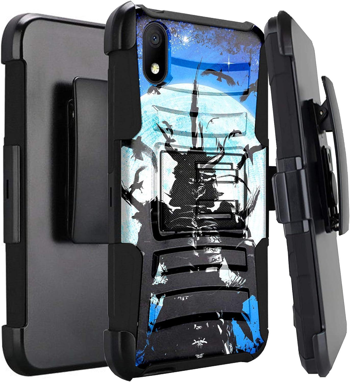 DALUX Hybrid Kickstand Holster Phone Case Compatible with Alcatel Apprise/Glimpse/Volta/Alcatel 1B (2020) - Blue Crow Warrior
