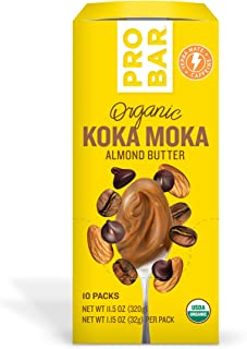 PROBAR - Nut Butters, Koka Moka Almond Butter Plus Caffeine, Non-GMO, Gluten-Free, USDA Certified Organic, Healthy, Plant-Based Whole Food Ingredients, Natural Energy (10 Count) Packaging May Vary