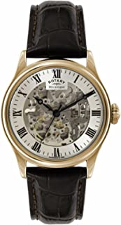 Mens Skeleton Automatic Rose Gold Brown Strap GS02942/01