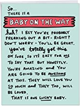 Baby On The Way - Cute Pregnancy Baby Greeting Card with Envelope (Extra Large 8.5 x 11 Inch) - Pregnant Encouragement Notes, Congratulations Card for Parents, Moms - Baby Shower Gift J6355BBG