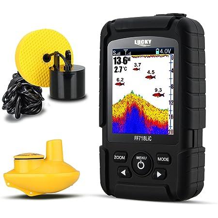 LUCKY Buscador de Peces 328feet /100M Profundidad Fishfinder Sonar Transductor 2-in-1 con Cable y Sensor Inalámbrico Portátil Rastreador de Peces