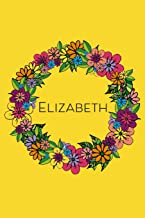 Elizabeth: Personalised Doodled Floral 6x9 Blank Lined Journal, 120 pages