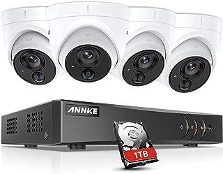 ANNKE Kit de 4 Cámaras de vigilancia 1080P PIR Detección de Movimiento Alarma de luz Intermitente(H.265+ 8CH DVR 3MP 5-en-1 CCTV Cámara de Seguridad IP67 Interior/Exterior)-1TB HDD