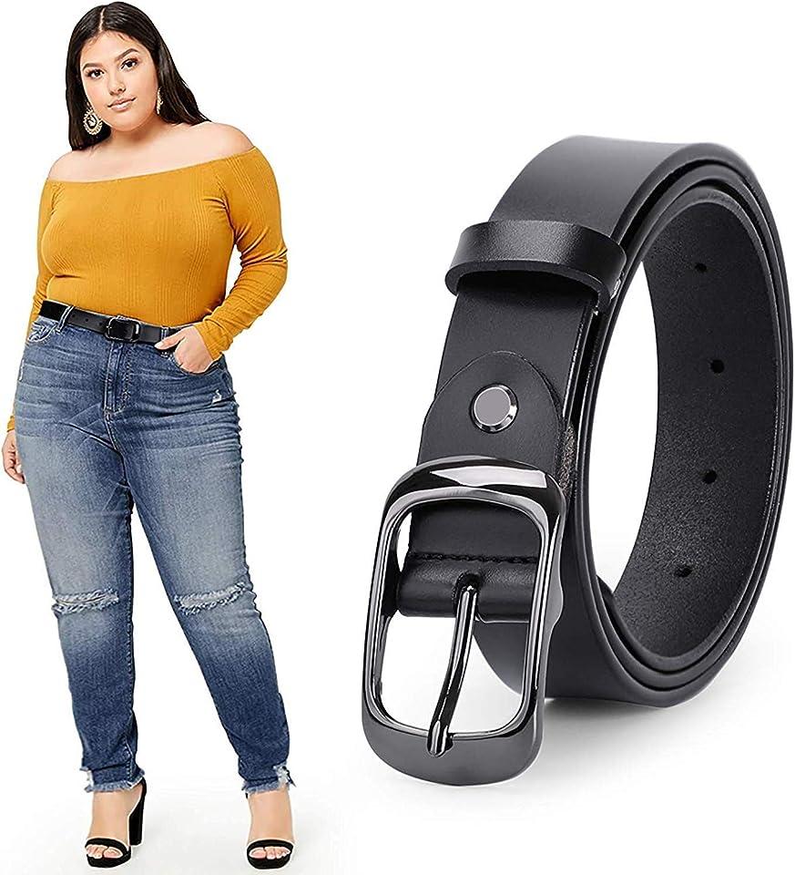 WERFORU Women Black Leather Belt Plus Size Polished Buckle for Jeans Pants