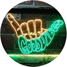 Good Vibes Only Hand Party Decoration Dual Color LED Neon Sign Green & Yellow 400 x 300mm st6s43-i1076-gy