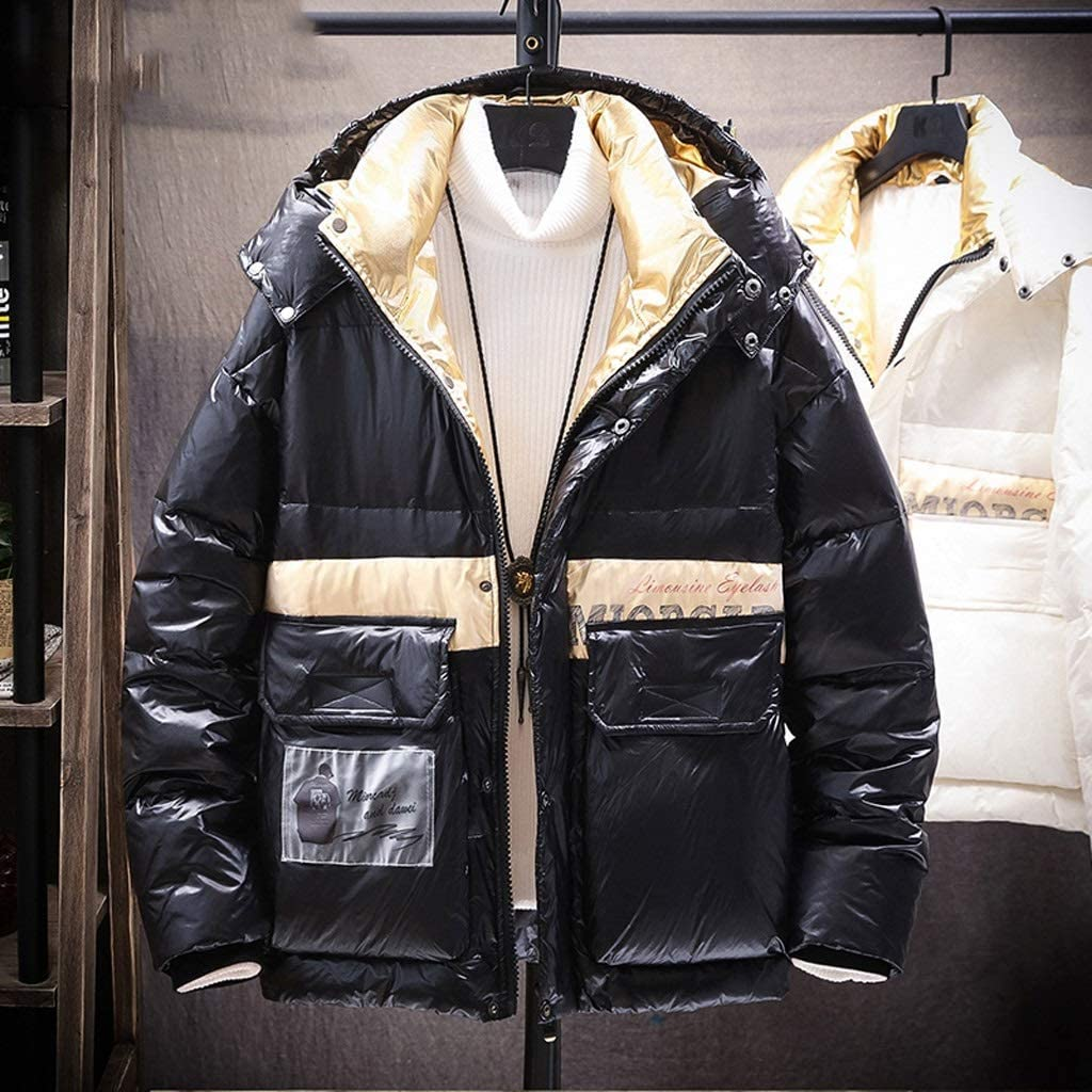 TWDYC Mens Down Jacket Men Winter Cargo Jacket Coat Black Patchwork Hooded Windproof Streetwear Jackets Men (Color : Black, Size : X-Large)