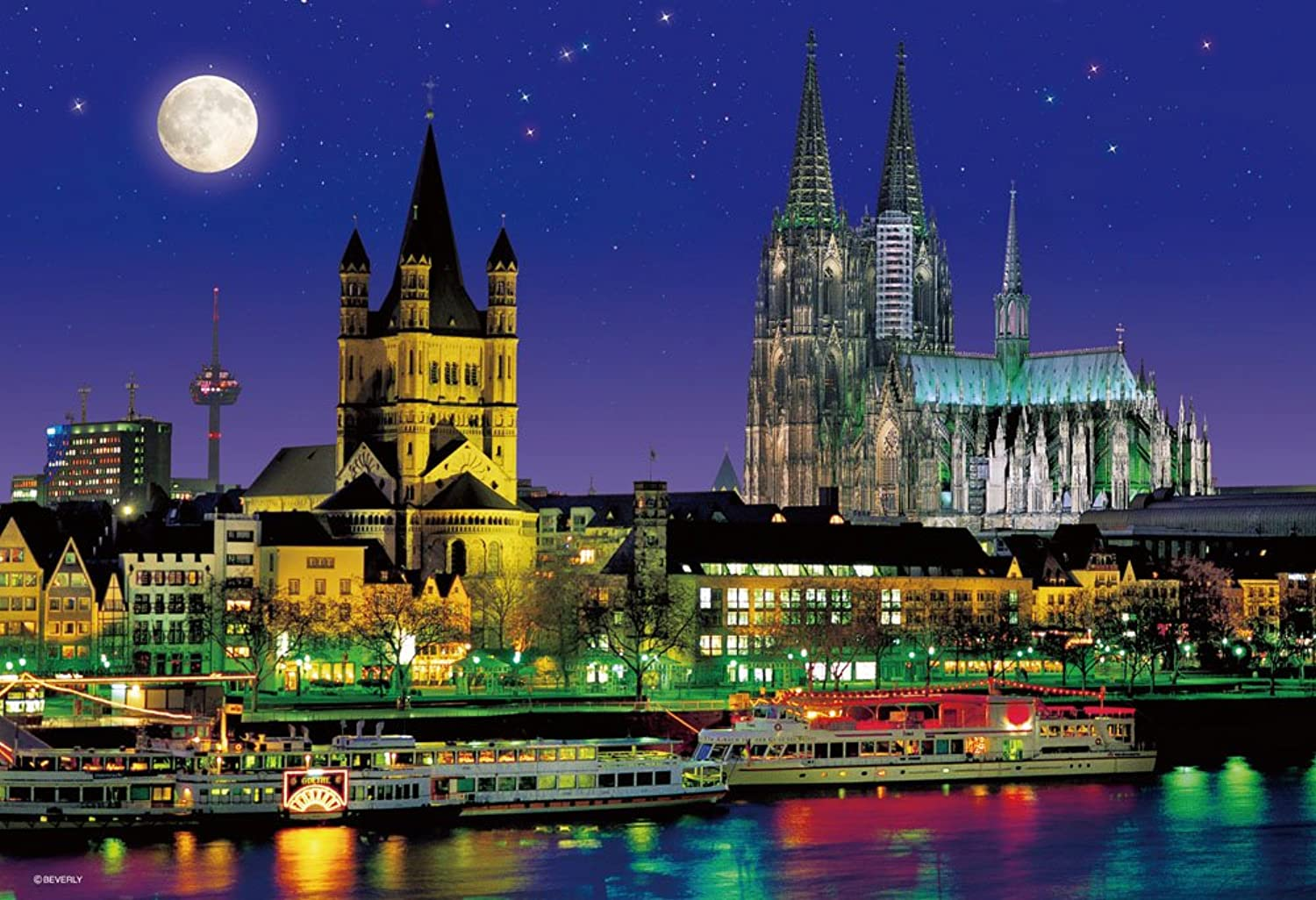 M71858 Cologne cathedral of 1000 micro piece moonlit night (japan import)
