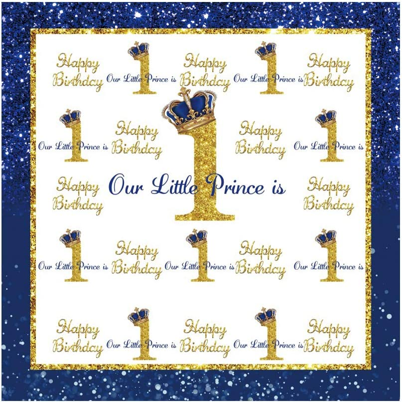 Haoyiyi 4x4ft Happy Birthday Backdrop Prince Little At the price Cheap super special price of surprise Glitter Blue