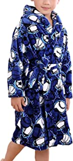 Image of Blue Flannel Sports Ball Robe for Boys