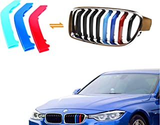 Exact Fit ///M-Colored Grille Insert Trims For 2013-2017 BMW F30 F31 3 Series 320i 328d 328i 335i M-Performance Black Kidney Grilles (For BMW 2013-2017 3 Series,8 Beams)