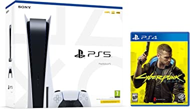 PS5 Console Sony PlayStation 5 - Standard Edition, 825GB SSD, 60FPS, 4K, HDR (Avec lecteur) + Cyberpunk 2077 (PS4/PS5)