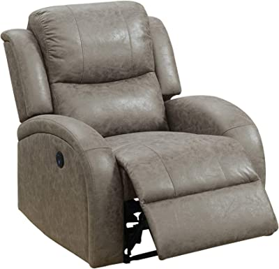 Benjara 40 Inch Leatherette Power Recliner with USB Port, Gray