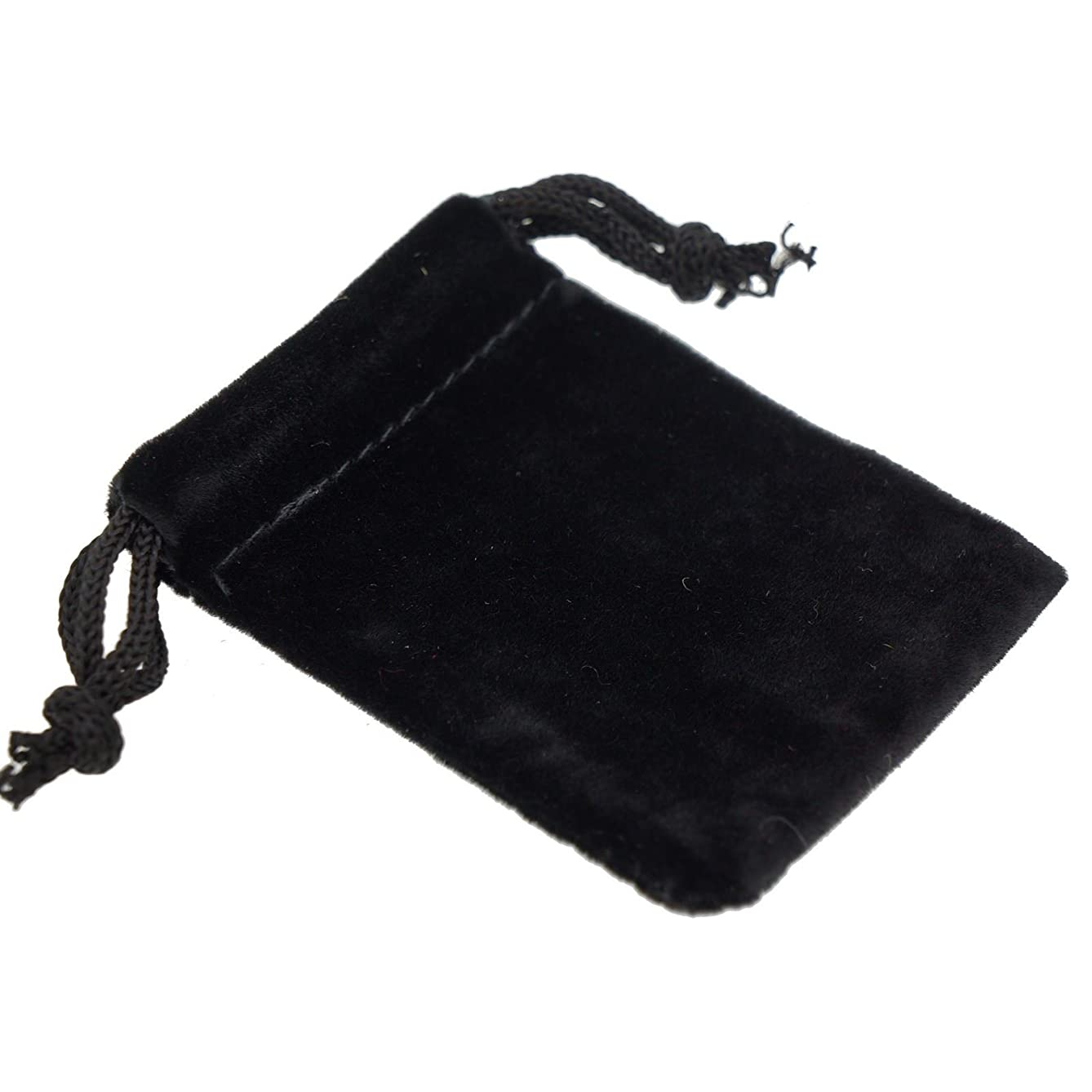 Pack of 12 Black Color Soft Velvet Pouches w Drawstrings for Jewelry Gift Packaging, 5x7cm