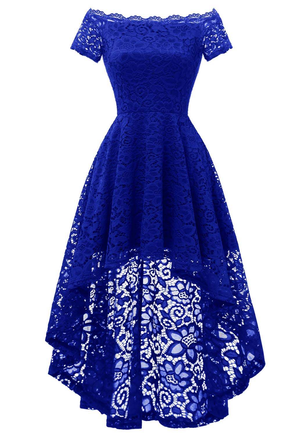 Available at Amazon: Dressystar Women's Lace Off Shoulder Cocktail Hi-Lo Bridesmaid Swing Dress