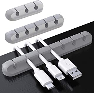 Cable Clips, TERSELY 3 Pack Cord Management Cable Organizer, Silicone Adhesive Wire Holder for Power Cords, Charging Cable...