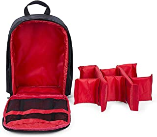 Indepman SLR Camera Travel Backpack Waterproof Carry Bag For Canon, Nikon, Sony, Pentax - Black-Red
