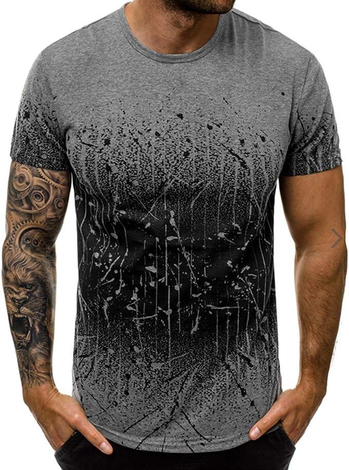 Berimaterry Camiseta con Capucha de Tirantes Hombre Camiseta de Manga Corta Estampada Cuello Camiseta con Capucha de Tirantes Deportes para Hombre, ...