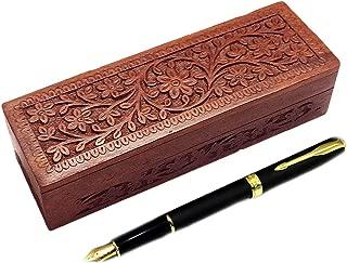 GD Wooden Pencil Box, Flower Design Carving Work Pen Box, 8 inch Storage Box, Wooden Pencil Box/Handmade Wooden Jewellery Box for Women