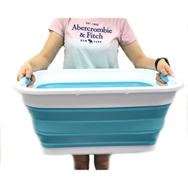 SAMMART Collapsible Plastic Laundry Basket - Foldable Pop Up Storage Container/Organizer - Portable Washing Tub - Space Saving Hamper/Basket (Rectangular, Bright Blue)