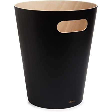 Umbra Woodrow - Corbeille à papiers en bois, 7,5L, Noir