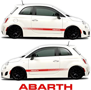 Fiat 500 Abarth Side Decals Stickers Rocker Panel Racing Stripes (2 Sides Graphics + Abarth Windshield Decal Free) - by Sgmotiv (Red)
