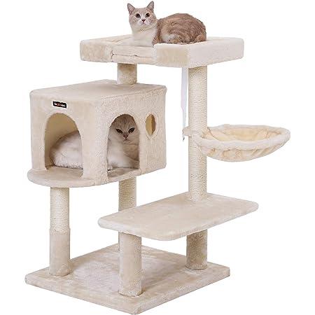 FEANDREA キャットタワー 大きい猫にピッタリ 巨大ハウス 広い見晴らし台 多頭飼い PCT42M