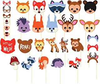 Photo Booth Props Kit - 30-Pack Pre-Assembled Woodland Animals Themed Selfie Props Party Supplies, Ideal for Kids Birthday Parties, Baby Showers, Assorted Designs