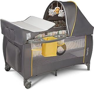 Lionelo Sven Plus boîte 2 en 1 lit bébé lit bébé table à langer jouets baldaquin suspendu avec moustiquaire entrée latéral...