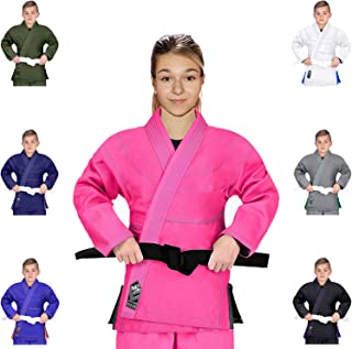 Elite Sports Essential IBJJF Ultra Light Brazilian Jiu Jitsu Kids BJJ Gi W/Preshrunk Fabric & Free White Belt