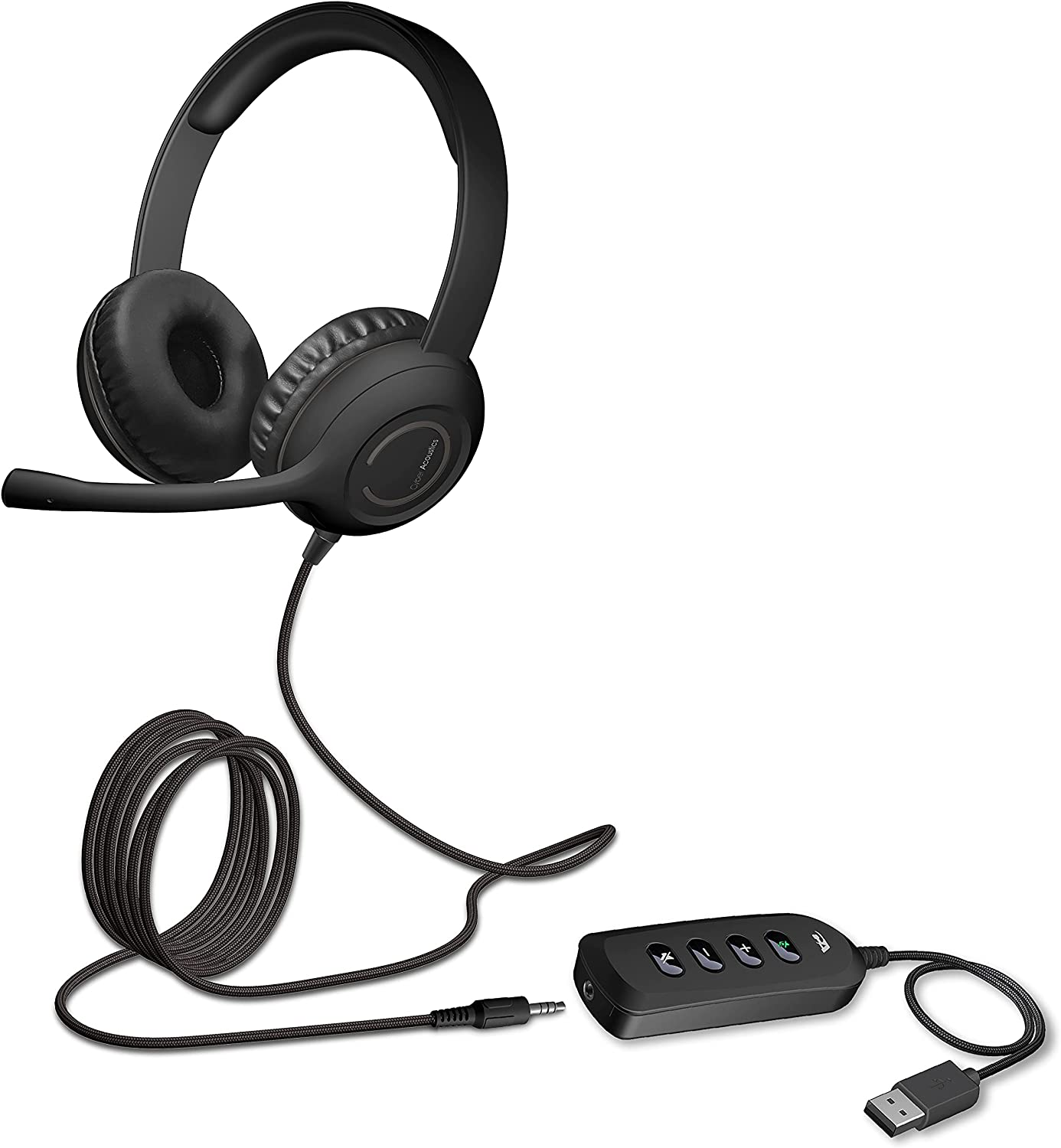 Cyber Acoustics Stereo Headset with USB or 3.5mm Connection, USB Control Module, Noise Cancelling Mic & Adjustable Mic Boom for PC and Mac, Classroom, Home or Office (AC-5812)