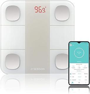 SEBSON Báscula de Grasa Corporal Bluetooth con App, digital bascula baño analisis corporal (13 valores) - peso, grasa, agua, muscular, IMC, etc - Balanza Personal 180kg