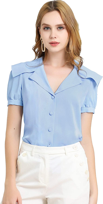 Allegra K Women's Puff Sleeves Shirt Office Work Button Down Collared Blouse