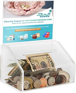 """MCB Acrylic Donation & Ballot Box, Voting or Comment Box, Raffles & Drawing, with Display Sign Holder and Safety Lock 8""""x ..."""