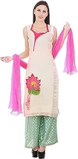Devaleena Creations Off whte Hasta Padma printed Kurta -one side zigzag white coloured threadwork for girls