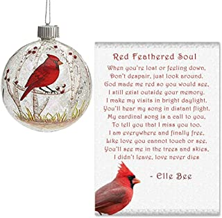 Lola Bella Gifts and Burton and Burton Cardinal Light Up Round Ornament with Red Feathered Soul Poem