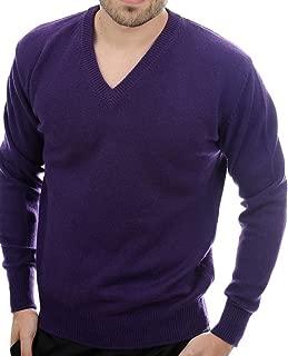 Balldiri 100% Cashmere Kaschmir Herren Pullover V-Ausschnitt 4-fädig violett
