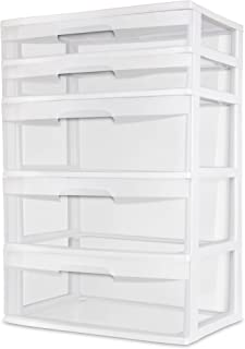 Sterilite 5 Drawer Wide Tower White Storage Organizer Cabinet Furniture Pack New Dorm Organization Garage Bedroom Room Clear Drawers Heavy-duty Plastic Storage Drawers Transparent