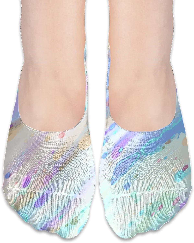 No Show Socks Women Men For Watercolor Splashing Rainbow Flats Cotton Ultra Low Cut Liner Socks Non Slip